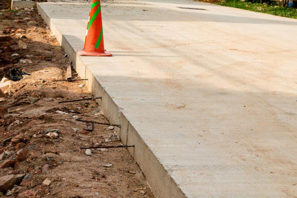 under construction concrete driveway