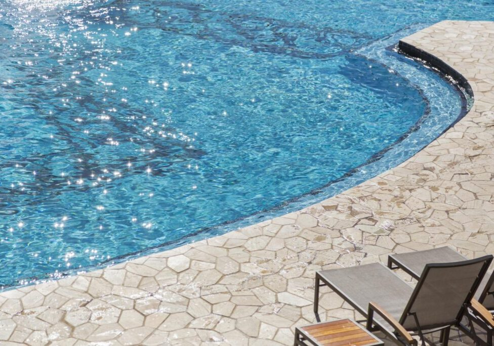 a swimming pool stamped walkway